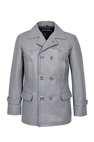 Smart Range Classique Reefer Gris Style Militaire Real Hide Leather Jacket Allemand Caban Homme (UK 3XL / EU 58)