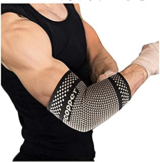 Elbow Brace Compression Sleeve - Elastic Support,  Tendonitis Pain,  Tennis Elbow,  Golfer's Elbow,  Arthritis,  Bursitis,  Basketball,  Baseball,  Football,  Golf,  Lifting,  Sports