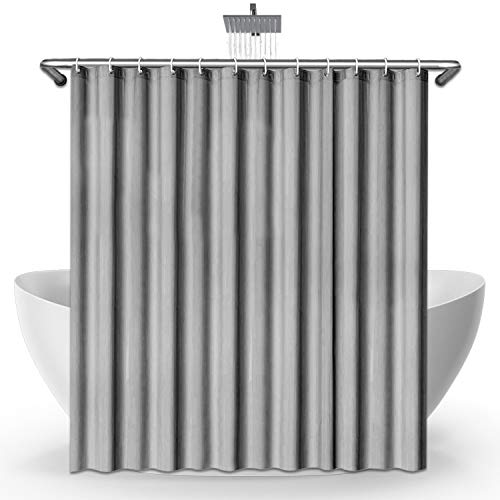 SeaFellows Duschvorhang 180x200cm im Set I wasserabweisend mit Anti-Schimmel-Effekt - antibakterieller Duschvorhang in grau - mit jeweils [12x] Befestigungsringen + 3 Magnete als Fallgewicht
