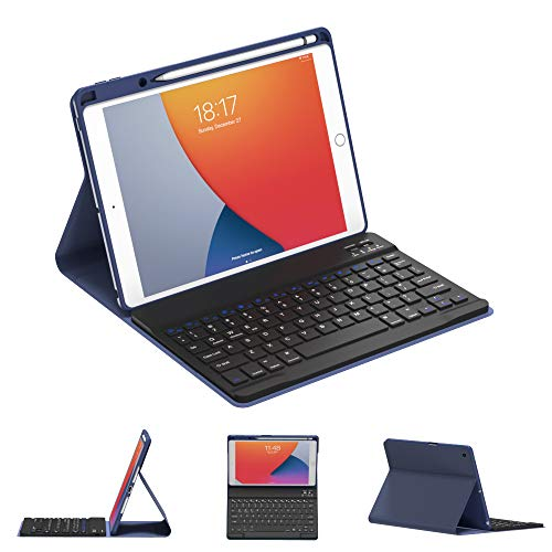 iPad 8th Generation case with Keyboard and iPad 7th Generation 10.2 Inch Folding Cover with Pencil.Detachable Wireless BT Keyboard Built-in Pencil Holder Thin Slim Smart Folio iPad Case Blue