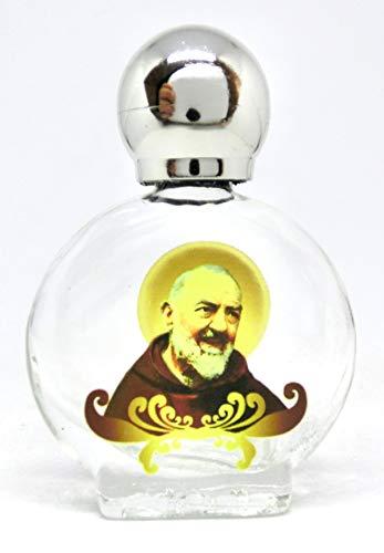 GTBITALY Santo Padre pio di pietrelcina Bottiglia bottiglietta in Vetro con Tappo Argento per Acqua Santa con Stampa UV Ultra violetti