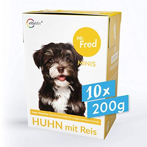 Mr. Fred- Hundefutter nass | Super Premium Nassfutter für Hunde | 10 x 200g | Lebensmittelqualität | Huhn mit Reis | wiederverschließbar