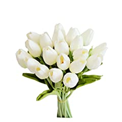 The flower is made of high-quality PU. The stem is made of steel wire inside and wrapped in plastic outside. Full height: 14 inches/35.56cm; Flower head diameter: 1.4 inches/3.6 cm Package: 20pcs white tulips per pack.(Vase not include). It's easy to...