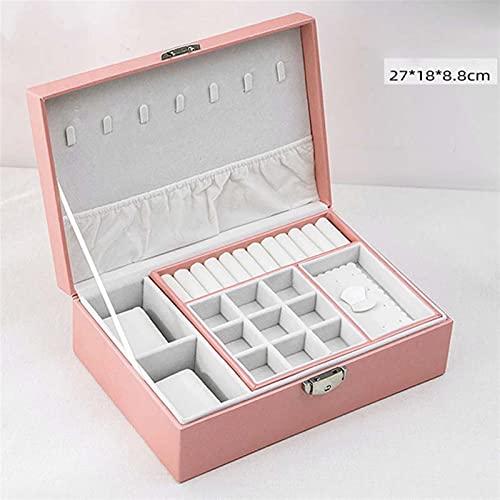 Caja de almacenamiento de joyería exquisita y dura Recién joyas Caja de joyería Pendiente de almacenamiento de cuero creativo Portátil Caja de maquillaje múltiple PU Caja de reloj Portador del collar