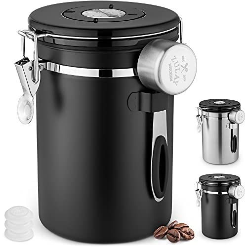 Zulay 21oz Coffee Canister For Ground Coffee – Stainless Steel Coffee Canisters With Scoop Holder & Date Tracker – Airtight Coffee Container & Coffee Storage For Coffee Jar, Tea, Sugar, Flour (Black)