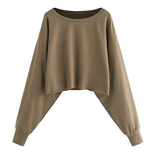 Romwe Women's Drop Shoulder Lantern Sleeve Pullover Sweatshirt Khaki M