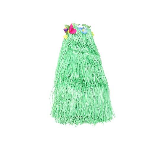 BESTONZON Hawaïen Styl Table Jupe Chemin de Table avec Grandes Fleurs Table Hula Herbe en Plastique Bureau Jupe pour la Fête D'anniversaire Décoration (Vert)