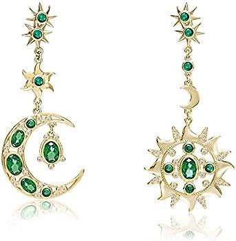 Codilo Women's Sun and Moon Drop Earrings