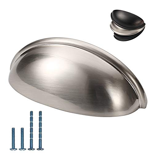 Furniware 10 Pack Cabinet Bin Cup Drawer Handle Pulls, Kitchen Cabinet Door Handles Pull Brushed Satin Nickel- 3 Inch(76mm) Hole Center