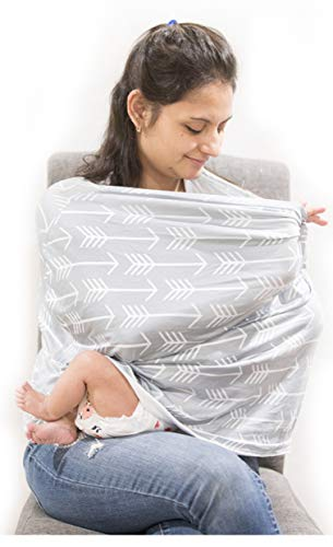A Baby Cherry - Nursing Cover for Baby Breastfeeding, Car Seat Cover, Multi-use, Soft, Breathable, Stretchy, No See-Through, 360° Full Privacy - Available in Multiple Pattern (Grey)