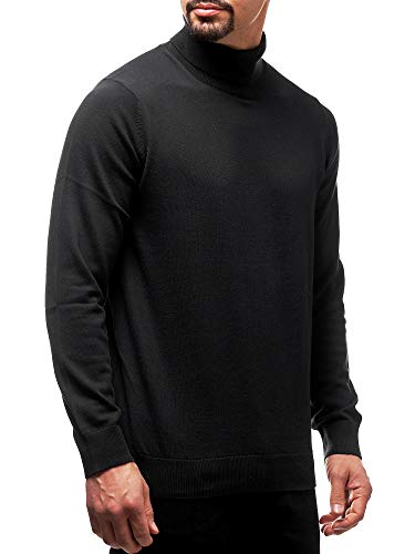Indicode Herren Gates Feinstrickpullover mit Rollkragen aus 100% Baumwolle | Warmer Strickpullover Rollkragenpullover eleganter Herrenpullover Pulli Pullover für Männer Black M