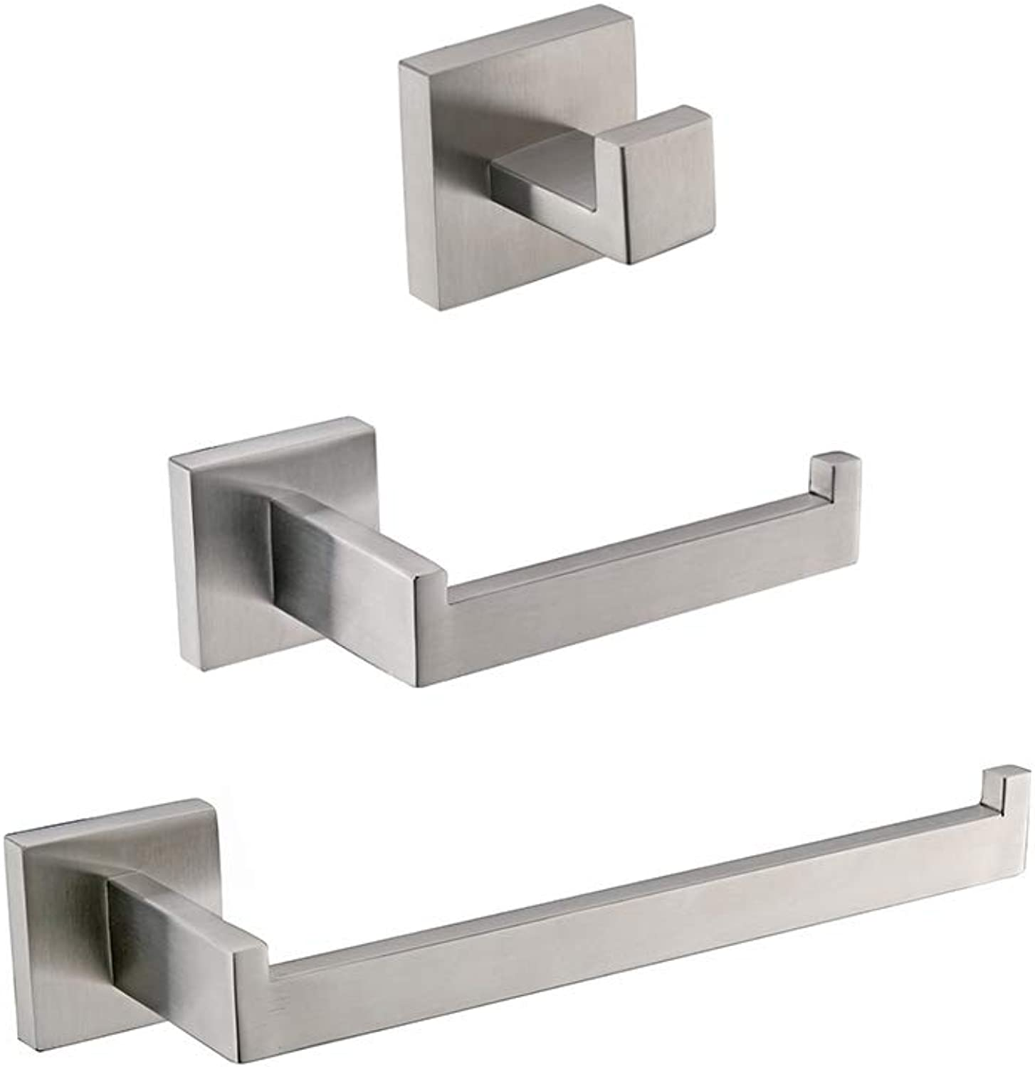 TURS 3-Piece Bathroom Accessory Set SUS 304 Stainless Steel RUSTPROOF Toilet Paper Holder Towel Bar Holder Robe Hook Wall Mount, Brushed Finish, Q7010BR