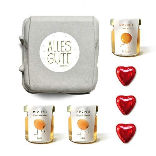 Geschenk-Idee: witziges Geschenk-Set 2 Mispelchen, 1 Eierlikör trinkfertig im Glas & Schokoladen-Herz in dekorativer Schachtel
