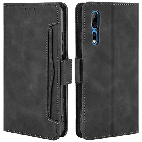 HualuBro Handyhülle für ZTE Axon 10 Pro Hülle Leder, Flip Hülle Cover Stoßfest Klapphülle Handytasche Schutzhülle für ZTE Axon 10 Pro 5G Tasche (Schwarz)