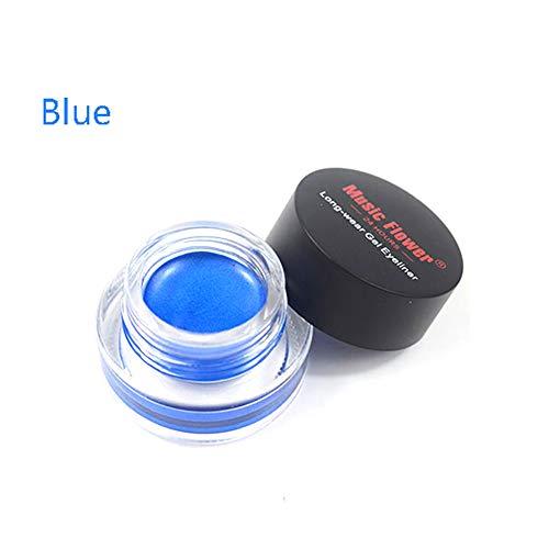 Xiton 1pc Long Lasting Kit Eyeliner imperméable à l'eau au maculage Maquillage des yeux professionnel Gel Eye-liner durer toute la longue journée gel pinceaux de maquillage eyeliner Inclus (Bleu)