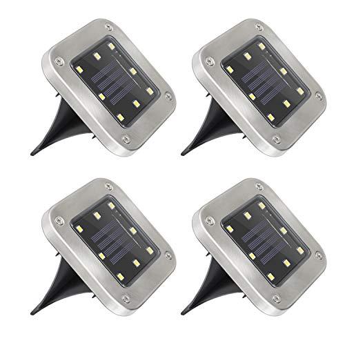 Mitening LED Luce Solari Giardino Esterno, 4 Pezzi 8 LED Lampada Solare Luce Sepolta Luci Solare IP65 Impermeabile Faretti Sepolta Terra Incasso per Prato Scala Vialetto Paesaggio Strade(Bianco Caldo)