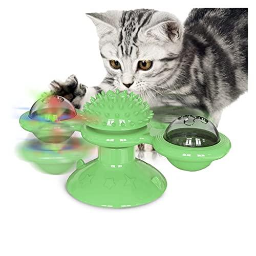 WULE-RYP Pet-Produkte Rotat Windmühle Katze Spielzeug Lustige Massage drehbare Katze Spielzeug mit Catnip Interaktives Haustier Spielzeug Zähne Reinigung Pet Products (Color : Green)