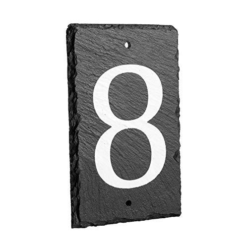 número del inmueble/de casa de pizarra natural sólido incluyendo fijaciones - número 8