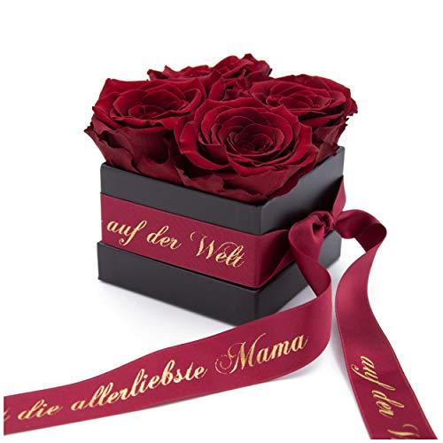 Muttertag Rosenbox mit konservierten Rosen haltbar 3 Jahre und Goldschrift - 8,5 x 8,5 cm (Du bist die allerliebste Mama auf der Welt, Dunkel Rot)