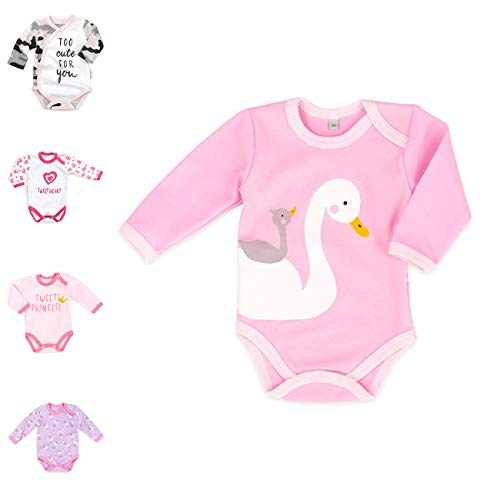 Baby Sweets Baby Langarm-Body für Mädchen aus Baumwolle als Baby-Erstausstattung/Baby-Body im Schwan-Motiv in Rosa für Neugeborene & Kleinkinder/Baby-Kleidung der Größe: 9 Monate (74)