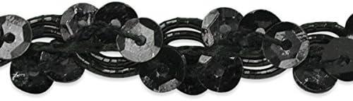 Expo International Alison Wavy Sequin Braid Trim Embellishment Black 20-Yard