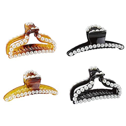 4 Pack Large Black Gold Brown Octopus Pearl Glitter Sparkly Plastic Hair Claw Clips Clutcher Crab Jaw Barrettes Grips Clamps Clasps Pin Buns Braids Twist Hair Up Fancy Accessories for Women Girl