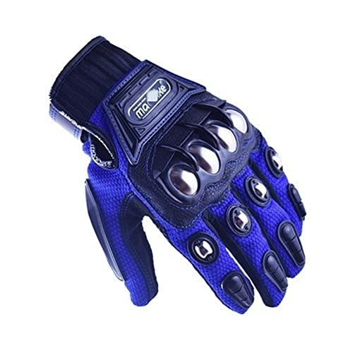ZZLLFF Guanti da Motociclista Guanti da Equitazione Universale Traspirante Antiscivolo Anti-Slip Full Finger Fist Joint Metal Protezione indossabile (Color : A Blue, Size : M)