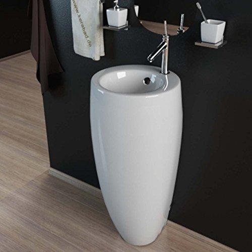 KERABAD Design Keramik Standwaschbecken Waschtisch Waschsäule Säule Standwaschtisch Rund Oval Gäste WC Becken KBE501