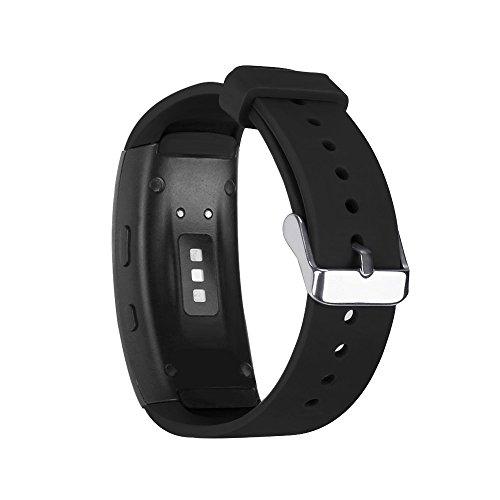 Für Samsung Gear fit 2 Smart Watch Armband Silikon Sport Ersatzarmband Ersatz-Uhrenarmband Replacement Wechselarmband Watch Band Ersatzband Fitness Tracker (Schwarz)