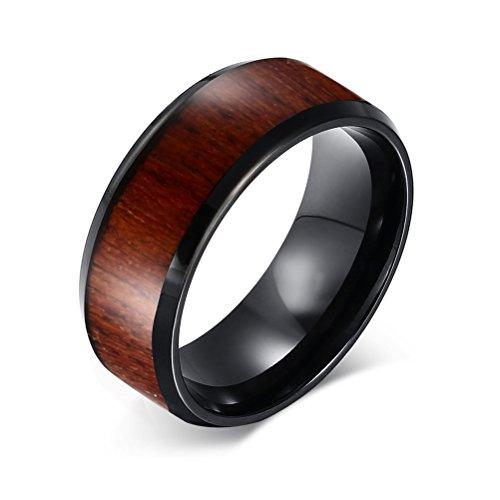 Vnox 8mm Männer Hartmetall Koa Holz Einlegearbeit Komfort Fit Hochzeit Band Ring,Schwarz