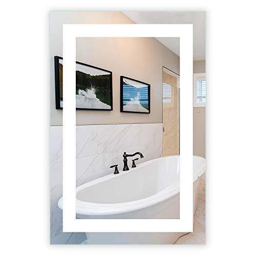LED Front-Lighted Bathroom Vanity Mirror: 24' Wide x 36' Tall -...