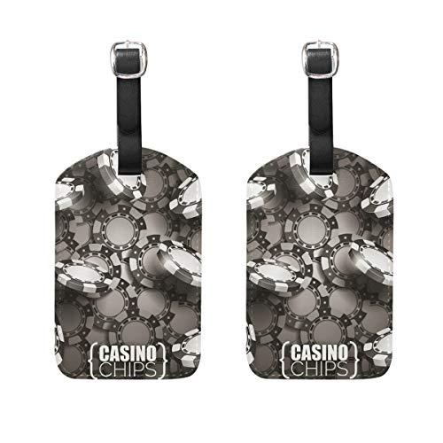 Muooum Casino-Chips Dunkle Gepäckanhänger, Reiseetiketten, Koffer, Taschen, Anhänger mit Namen, Adresskarten, 2er-Set