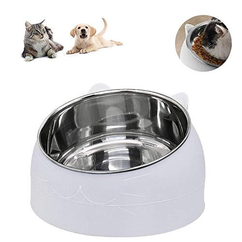 Haustier Fressnapf, Futternäpfe Katzenfutter, Katzennäpf Edelstahl rutschfest Schüssel 15°Gekippte Plattform, für Katze Welpe Futter und Wass 400ML