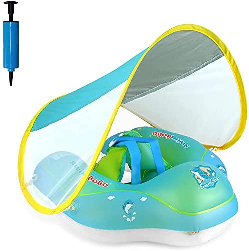 Salvagente Neonato con Tettuccio Parasole, Anello di Nuoto per Bambini, Salvagente Gonfiabile per Piscina Regolabile Doppio Airbag Anello Salvagente per Bambini 3~12 mesi, Neonati Baby -S