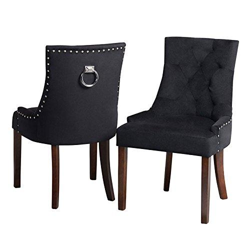 My-Furniture – Torino – Silla de Comedor con tapizado, Respaldo Curvado y argolla en la Parte Posterior del Respaldo – Terciopelo Negro con Patas acabadas en Madera de Nogal