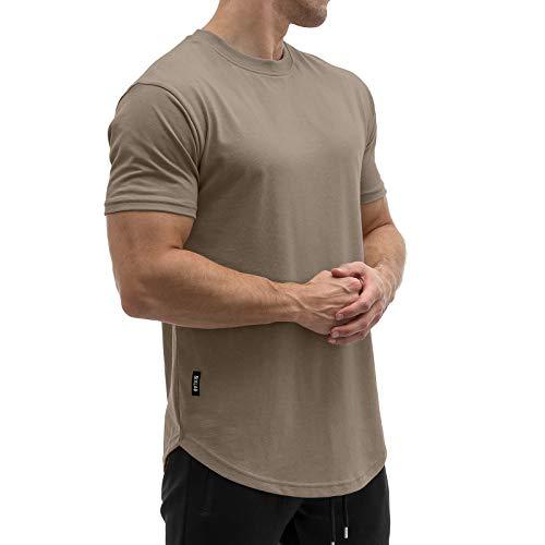 Sixlab Round Tech Herren T-Shirt Muscle Basic Gym Sport Fitness Tshirt (Braun, L)
