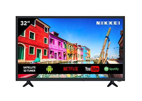 Televisione NIKKEI NH3218S da 81 cm   32 Pollici - Smart TV, LED, HD Ready, Netflix, Spotify, YouTube, 3x HDMI, 1x USB, Guida Elettronica ai Programmi