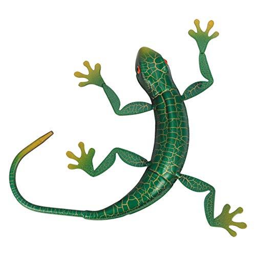 BESPORTBLE Metall Gecko Wanddeko Eisen Kunst Skulpturen Grün Gecko Wandkunst Wandobjekt Reptilien Figuren Wohnzimmer BBüro Garten Zaun Wand Weihnachten Halloween Dekoration Geschenk