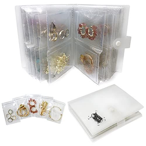 Portable Travel Jewelry Earring Organizer Storage Book Bag,Transparent Anti Oxidation Small Jewelry Earring Stud Necklace Ring Storage Booklet Holder Display Case Box (120 Grids + 50 Thicken PVC Bags)