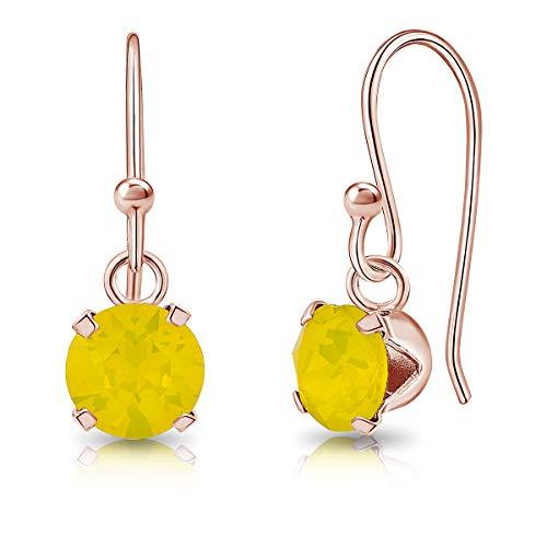 DTPsilver - Semental Pendientes/Aretes con Gancho - Plata de Ley 925 Chapado en Oro Rosa con Cristal Swarovski Elements Redondo - Diámetro: 6 mm - Color: Ópalo Amarillo