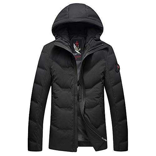 CRWOOL Hommes l'hiver Manteau Hiver Long Trench Coat Slim Outerwear pour Les Voyages de ski et de Marche en Automne et en Hiver (crct132),Black,170