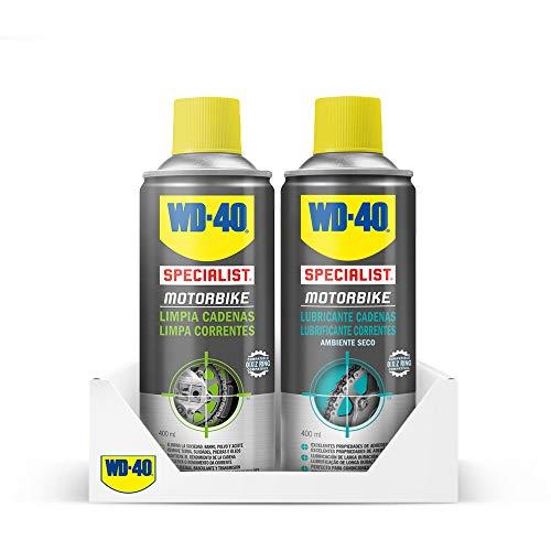 WD-40 Specialist Motorbike - Lote para cuidado y mantenimiento de cadena moto con Spray Limpiacadenas 400Ml + Lubricante de Cadenas 400Ml - Pack 2 unidades
