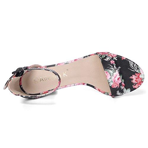 Allegra K Women's Floral Ankle Strap Block Heel Black Sandals – 9 M US