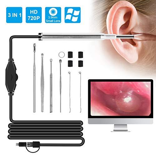 Eurobuy 3.9mm Lente 720P HD Otoscopio con 6 LED Cámara de endoscopio para Limpieza de oídos Herramienta de selección de oído Visual Herramienta de inspección de boroscopio, Carga USB