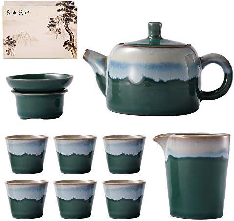 KOLDA Ceramic Tea Pot Cup Set Chinese Tea Set with Strainer Porcelain 1 Pot 6 Teacup All in product image