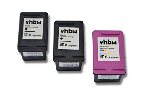 vhbw 3X kompatible Ersatz Tintenpatrone Druckerpatrone Set schwarz + bunt für Drucker HP Envy 4507, 4508, 5532, 5534, 5536