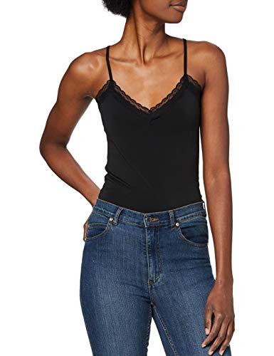 PIECES Damen PCKATE LACE Singlet NOOS Top, Schwarz (Black Black), 38 (Herstellergröße: M)