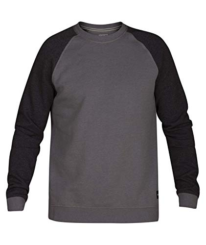 Hurley Men's Pullover Crewneck Fleece Hoodie, Grey Heather, XL
