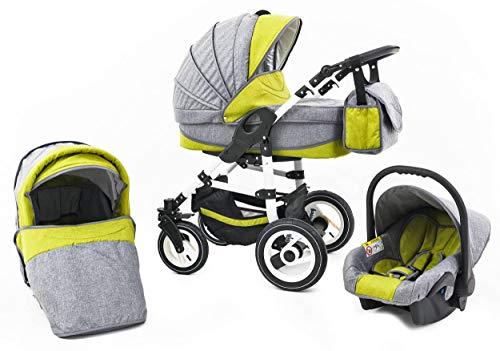 Tabbi ECO LN   3 in 1 Kombi Kinderwagen   Hartgummireifen   Farbe: Green