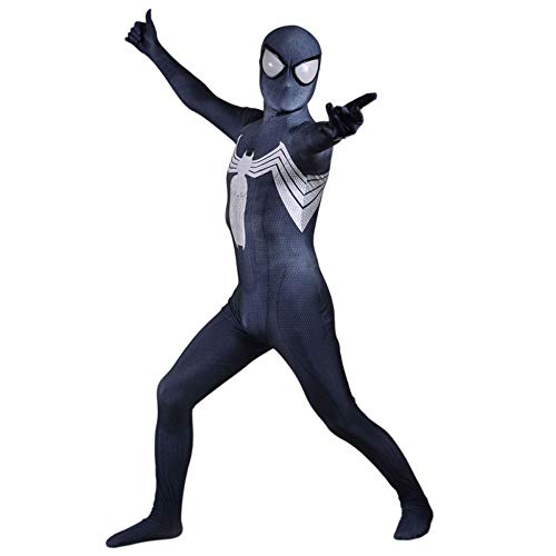 YIWANGO Venom Spiderman Cosplay Body , Schwarz Superheld All Inclusive Kleid Onesies 3D-Druck Halloween Maskerade Spiderman Kostüm Anime,Adult-XXXL
